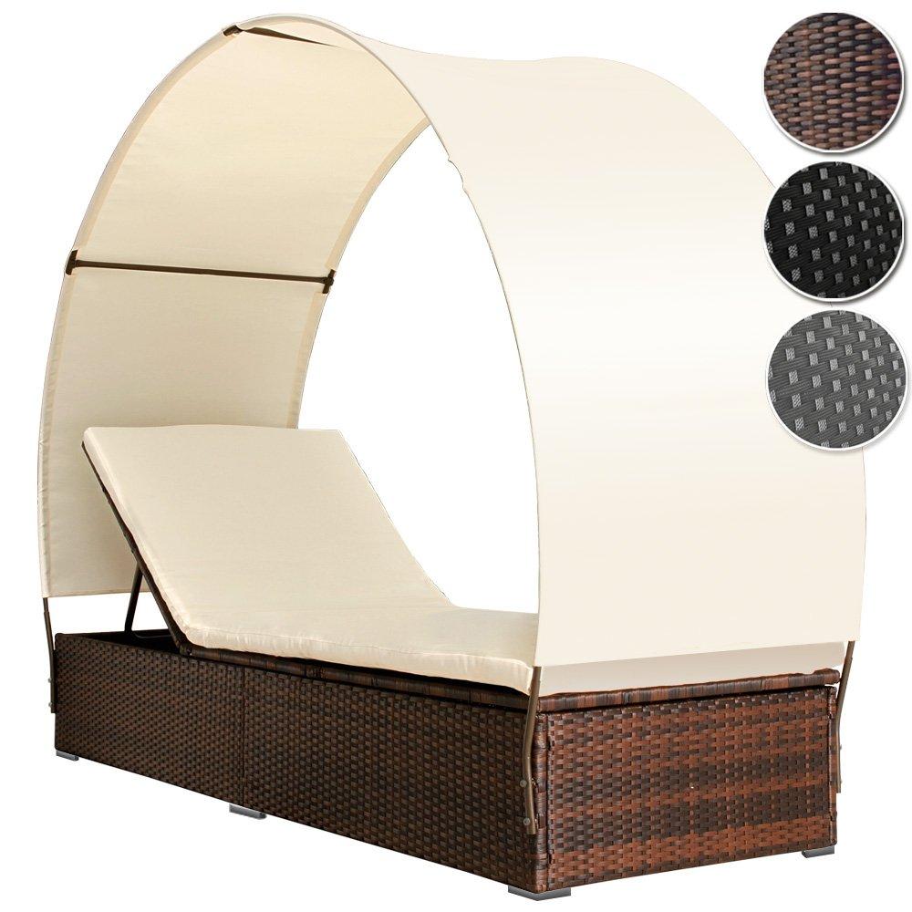 MIADOMODO Polyrattan Sonneninsel Lounge Sonnenliege Farbwahl inkl. Kissen Sitzauflage Sonnendach für 1 Person