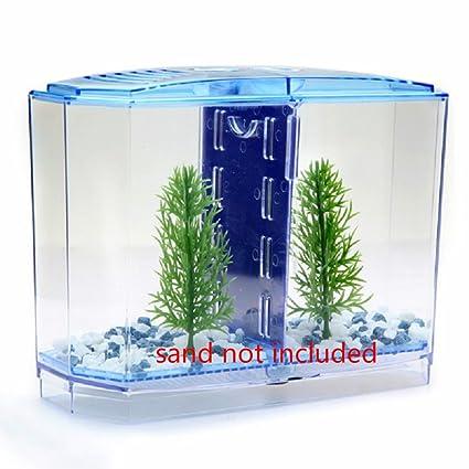 D@Qyy 2 Tamaño Acrílico Mini Acuario Betta Fish Tank Acuario Incubadora Aislamiento Hatchery Mini
