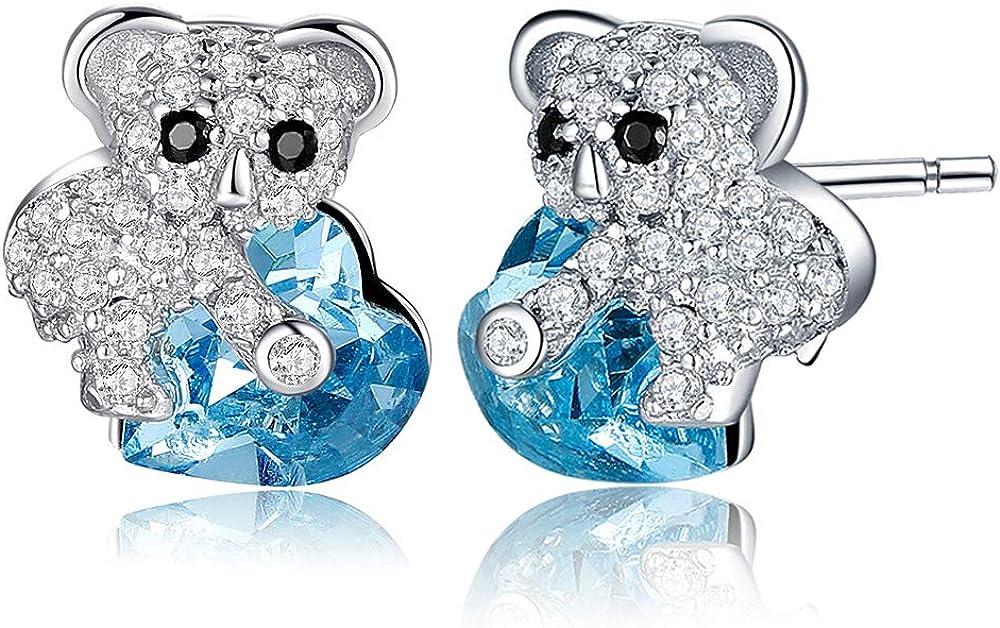 MEGA CREATIVE JEWELRY Pendientes Corazón Azul Koala para Mujer Plata 925 con Cristales