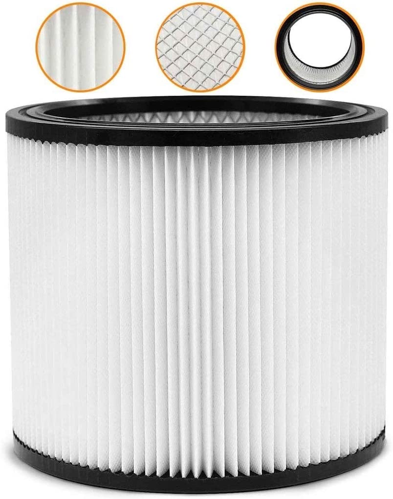 Wet Dry Shop Vac Filter 90304 Replacement Filter - Perfect for Wet/Dry Shop Vac Vacuums - Long Lasting - High Absorption… (white)