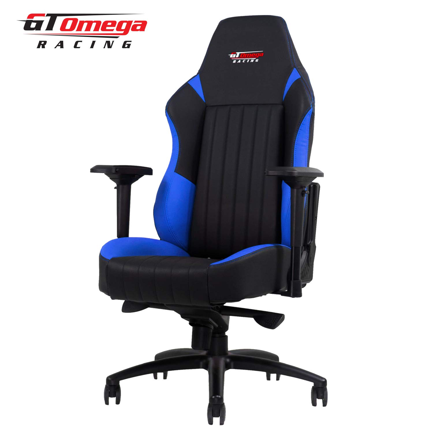 GT OMEGA EVO XL Racing Gaming Chair with Lumbar Support – Heavy Duty Ergonomic Office Desk Chair with 4D Adjustable Armrest Recliner – PVC Leather Esport Seat for Racing Console – Black Blue