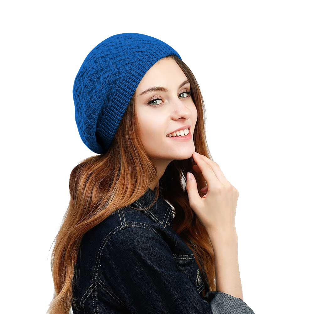 48627f266ad4b JULY SHEEP Women s Lady Knitted Beret Hat Merino Wool Braided Hat French  Beret for Winter Autumn Solid Color - Blue -  Amazon.co.uk  Clothing