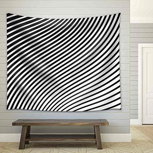Black and White Mobious Wave Stripe Optical Design Opart Fabric Wall