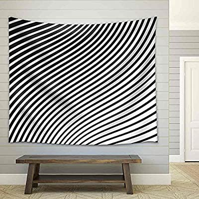 it is good, Beautiful Work of Art, Black and White Mobious Wave Stripe Optical Design Opart Fabric Wall