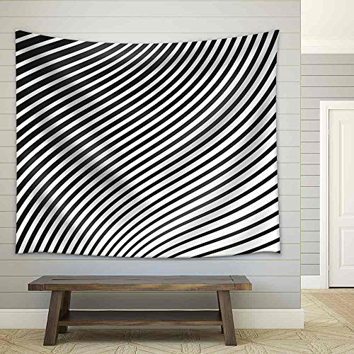 wall26 - Black and White Mobious Wave Stripe Optical Design Opart - Fabric Wall Tapestry Home Decor - 68x80 (White Stripe Striped Wallpaper)