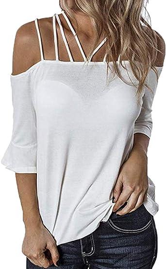 Ajpguot Mujer Manga Corta Sin Tirantes Camisetas Verano Color Sólido Blusas Casual Tops Camisas: Amazon.es: Ropa y accesorios