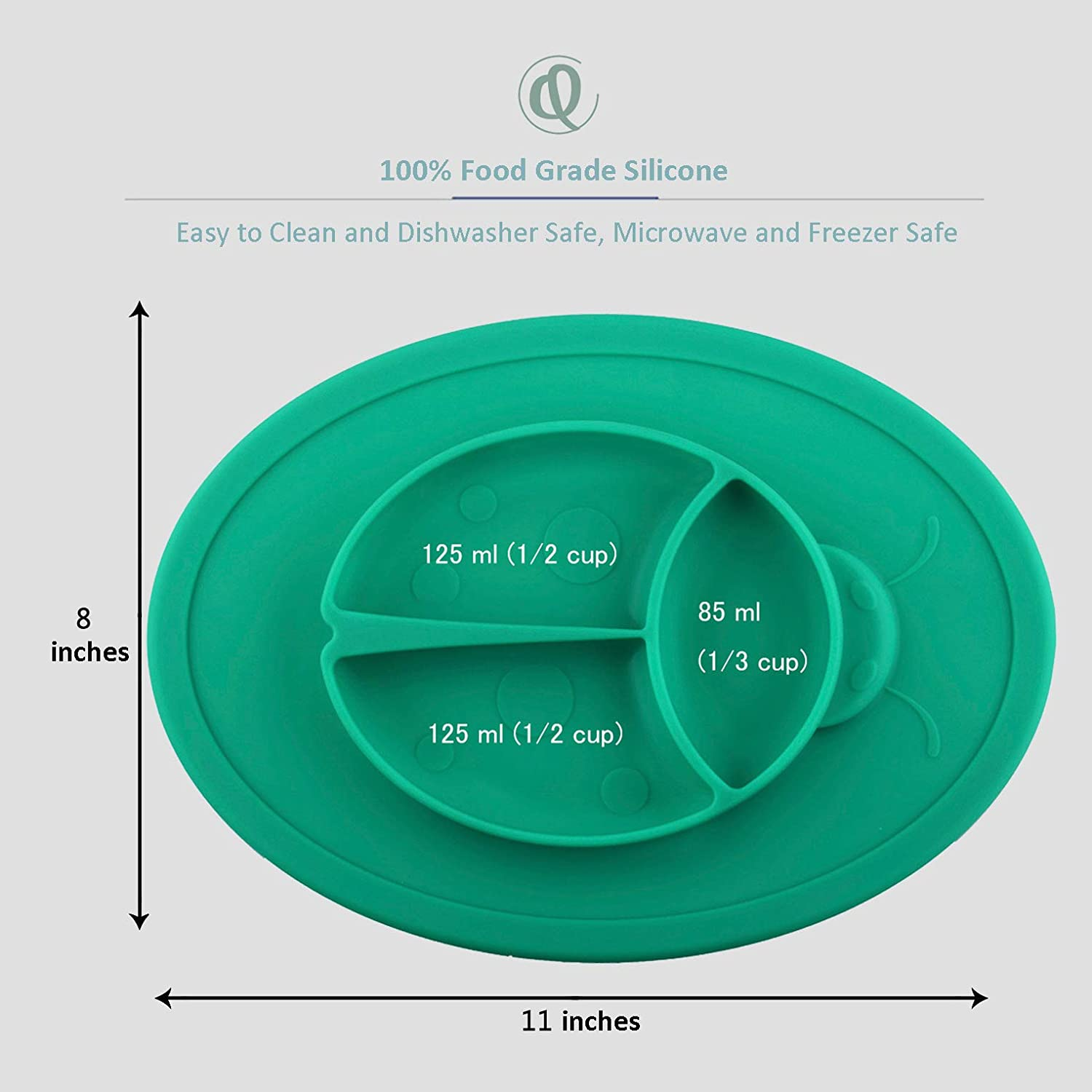 Portable Baby Plate for Toddlers and Kids BPA-Free FDA Approved Strong Suction Plates for Toddlers Qshare Toddler Plate Dishwasher and Microwave Safe Silicone Placemat 28 * 20 * 2.5cm