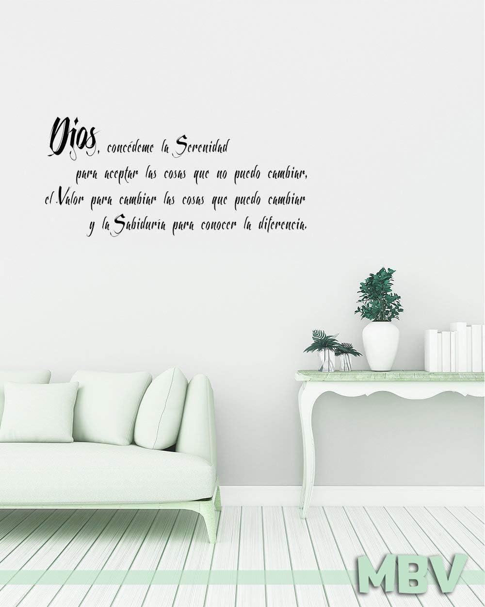Spanish Serenity Prayer Wall Quote - Wall Decal - Oracion de la serenidad Vinyl Sticker Lettering - Spanish Wall Saying - Home Decor Dios Made in USA