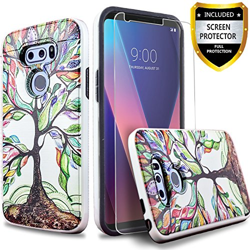 LG V30 Case, LG V35 ThinQ Case, with [Premium Screen Protector] Circlemalls Drop Protection Shockproof Rugged Protective Phone Cover and Stylus Pen Compatible for V30/V35 ThinQ/V30 Plus-Lucky Tree
