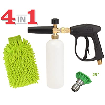 SPAUTO High Pressure Washer Gun 3000 PSI Foam Wash Gun Snow Foam Lance Foam Cannon Blaster with M22-14mm Thread and Wash Mitt & Nozzle Set: Automotive [5Bkhe2001149]