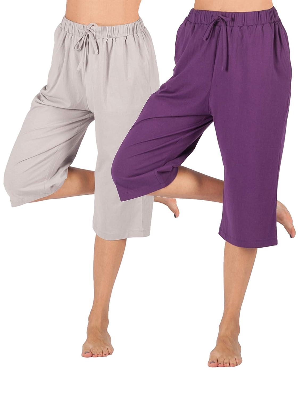 7d3c27db9dbce5 Damen WEWINK CUKOO Damen Pyjamahose Schlafanzughose Baumwolle Nachtwäsche  Schlafanzug Kurz geschnittene Sleep Hose mit Taschen Bekleidung
