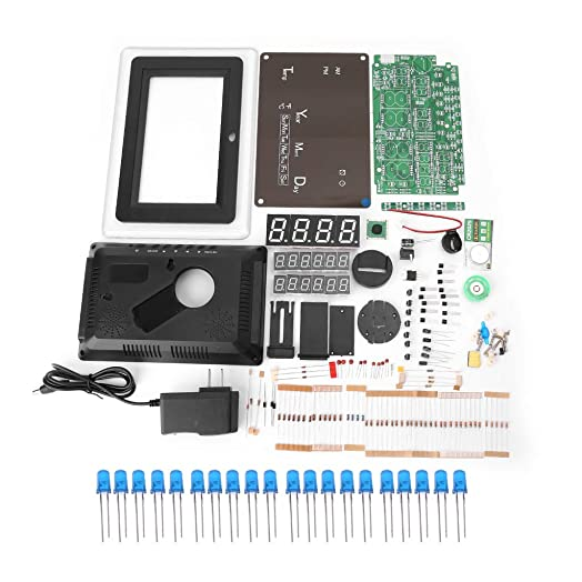 watersouprty ECL-1227 Electronic Clock DIY Kit Calendar Temperature Display LED Digital Panel Blue
