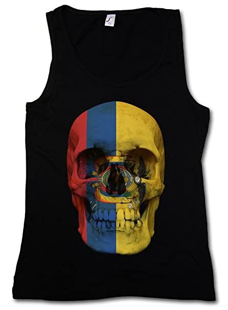 Classic Ecuador Skull Flag Mujer Camiseta Sin Mangas Women ...