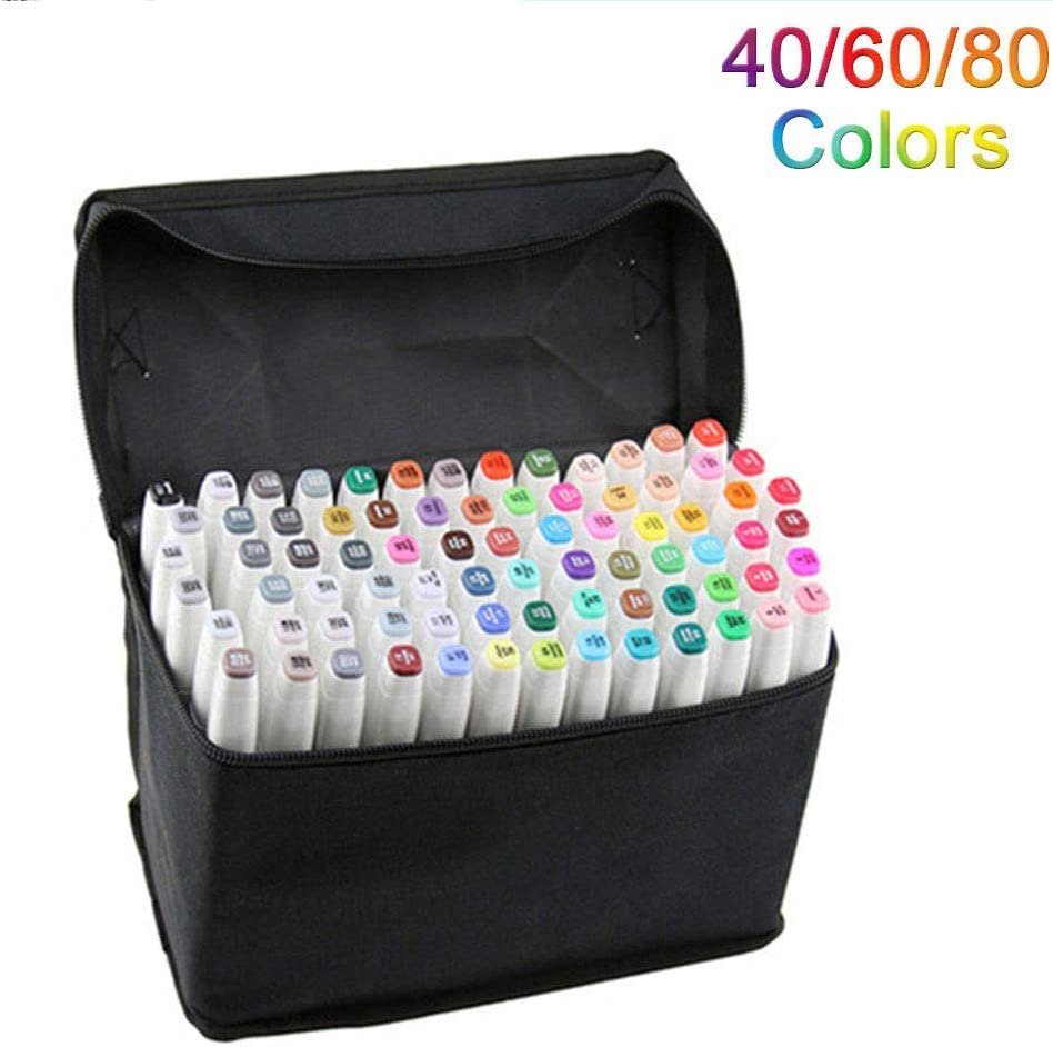 80 Colors Dual Tip Marker Pen Waterproof Professional for Arts Sketch Coloring Books Painting Manga and Design (80 Pcs, White)