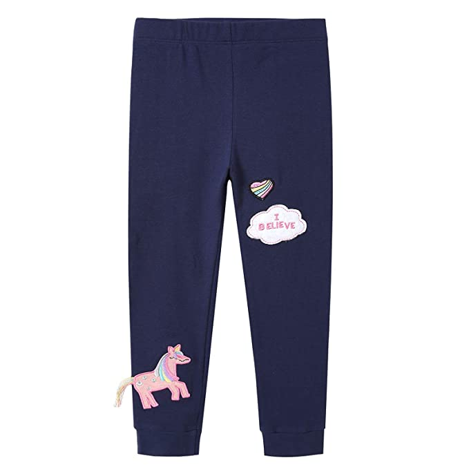 8 opinioni per VIKITA Leggings Cotone Pantaloni Farfalla Ricamo Bambina 1-8 Anni