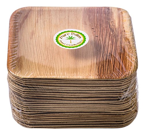 Brown Plates Paper - Pure Palm Planet Friendly Plates; Upscale Disposable Dinnerware; All-Natural Compostable Plateware (7