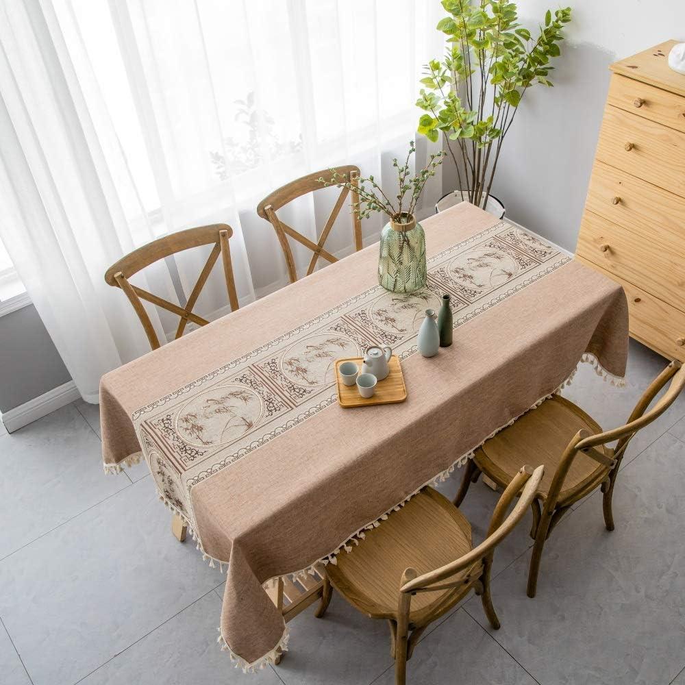 pridesong Patrón Exquisito Mantel Tela Bordada Estilo clásico Mantel Rectangular Mantel marrón (patrón de jardín) 140 * 180 cm (55 * 71 Pulgadas)