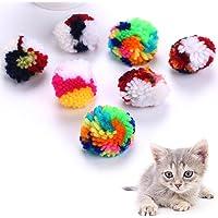 beautijiam Spielball für Haustiere, bunt, Wolle, interaktives Garn, zufällige Farbe, 10 Stück