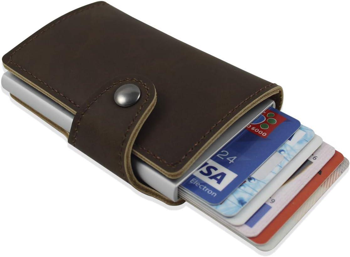 Cartera de cuero para tarjetas. Cartera con bloqueo RFID. Cartera de bolsillo con capacidad hasta 8 tarjetas. Billetera de seguridad, cómoda de llevar. Es ideal como regalo original. (Marrón Oscuro)
