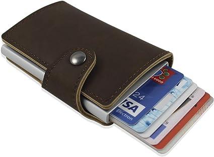 Imagen deCartera de cuero para tarjetas. Cartera con bloqueo RFID. Cartera de bolsillo con capacidad hasta 8 tarjetas. Billetera de seguridad, cómoda de llevar. Es ideal como regalo original. (Marrón Claro)