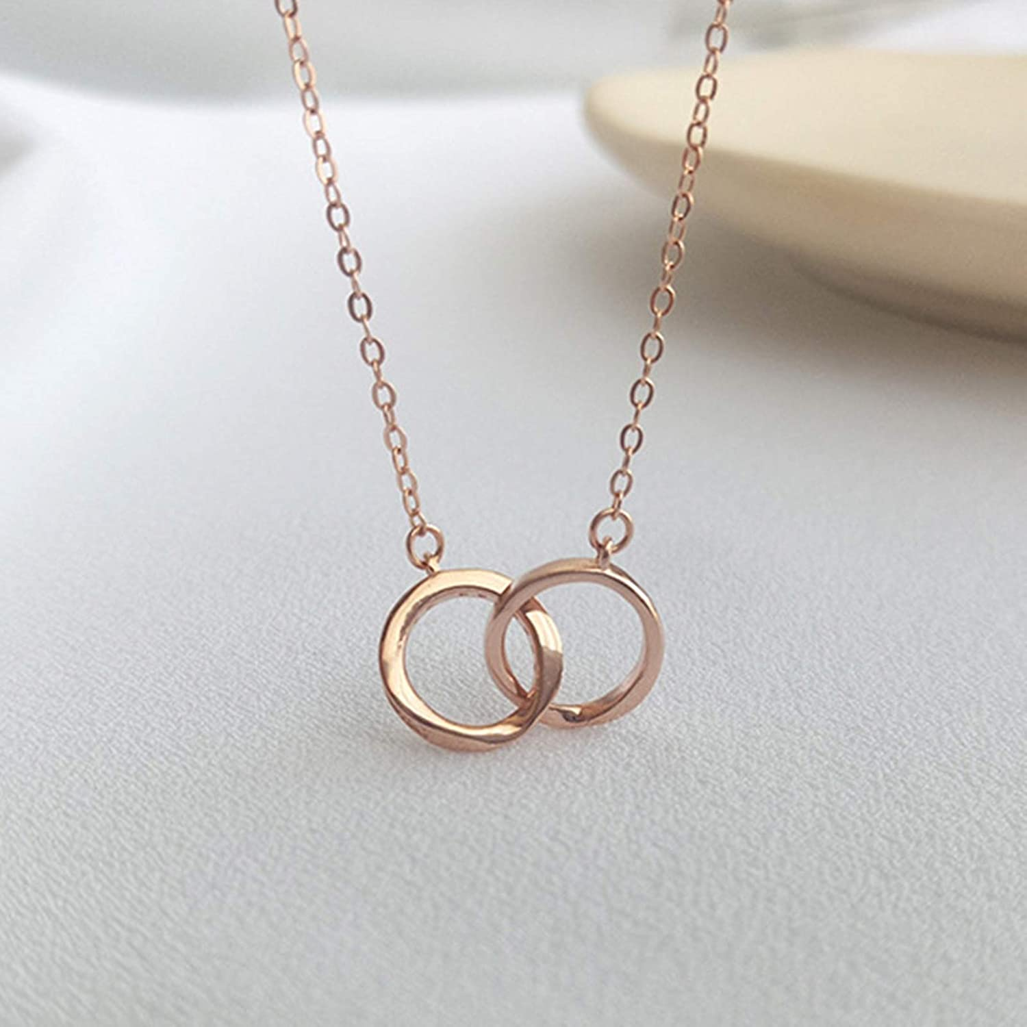 Aokarry Womens S925 Sterling Silver Necklace Interlocked Rings Pendant Necklaces for Women Rose Gold