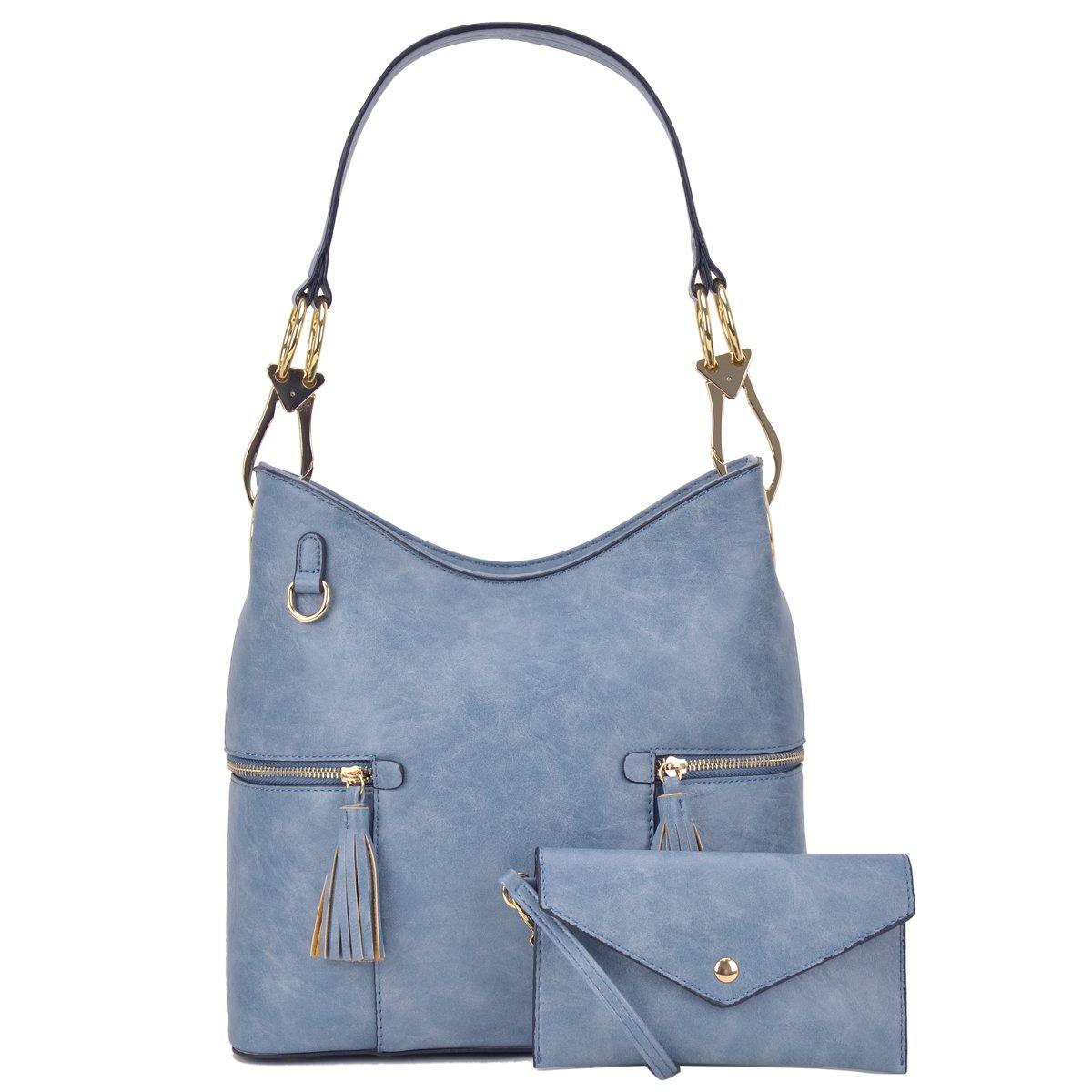 Classic Large Hobo Shoulder Bag Women Tote Purse Ladies Handbag PU Leather Big Snap Hook Denim Blue