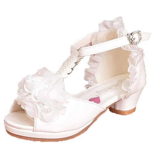 80f15d3bda9a OHmais Enfants Filles Chaussure cérémonie Ballerines à Bride Fête  Demoiselle d honneur Mariage Escarpin à Petit Talon  Amazon.fr  Chaussures  et Sacs