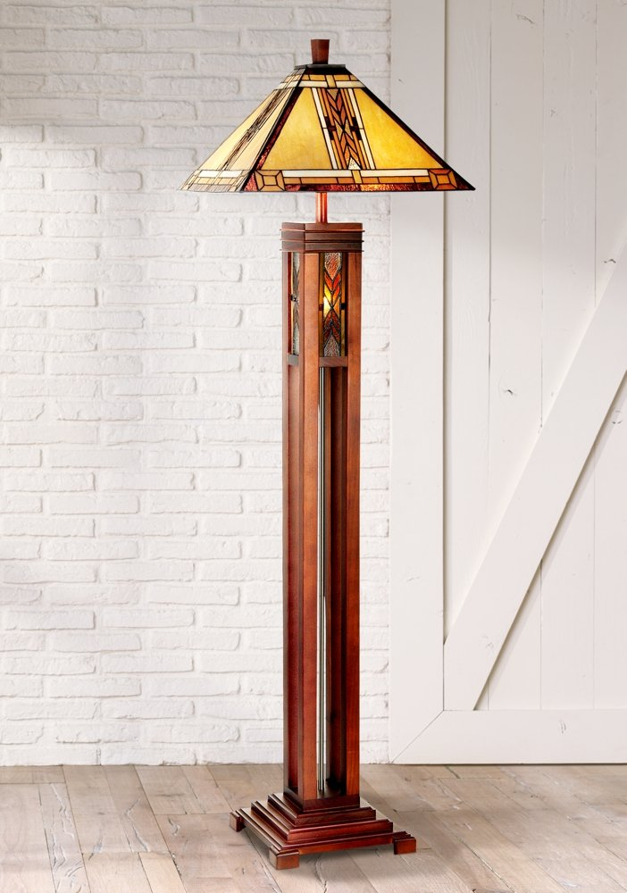 Walnut Mission Tiffany Style Night Light Floor Lamp - Mission Floor ...