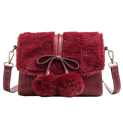 Hairy Messenger Bag Hiver Cuir Nouveau Red Wine Pu Color Lady Sac En A5Rq4jc3L