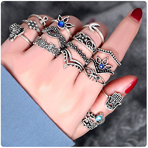 JoyJon 26 PCs Knuckle Ring Set Vintage Hamsa Hand Bohemian Elephant Crown Sun Moon Rhinestone Joint Rings for Girls Women Mom Mother's Day Gift - Hamsa Set