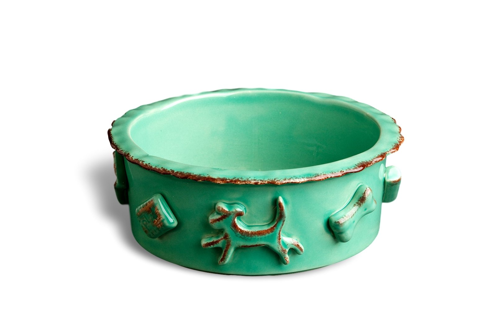 Carmel Ceramica PDMA3001 Dog Food/Water Bowl, Aqua/Green, Medium