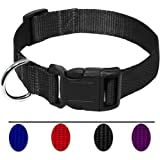 AEDILYS Adjustable Nylon Dog Collar Classic Solid Colors for Medium Sized Dogs Neck 12.5-19.6 inch