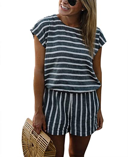 be7c0b00ce90 Rompers and Jumpsuits for Women Striped Short Sleeve Cute Summer Playsuits