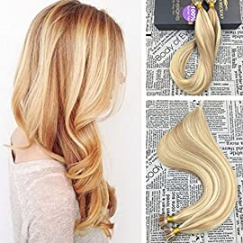Moresoo Pre Bonded Stick Tip Hair Extensions 14 inch 50g Keratin I Tipped Hair Extensions Ombre Color #14 Highlighted with #613 Hair Extensions 100% Remy Human Hair Extensions