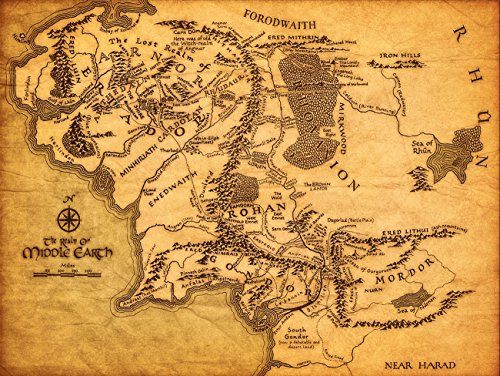 KSM Map of Middle Earth The Lord of The Rings Fabric Canvas Cloth Poster Print for Bar Office Room Wall Print Home Decoration 14x17.99inch(35.6x45.7cm) Unframed (Style C) (Lord Of The Rings Middle Earth Map)