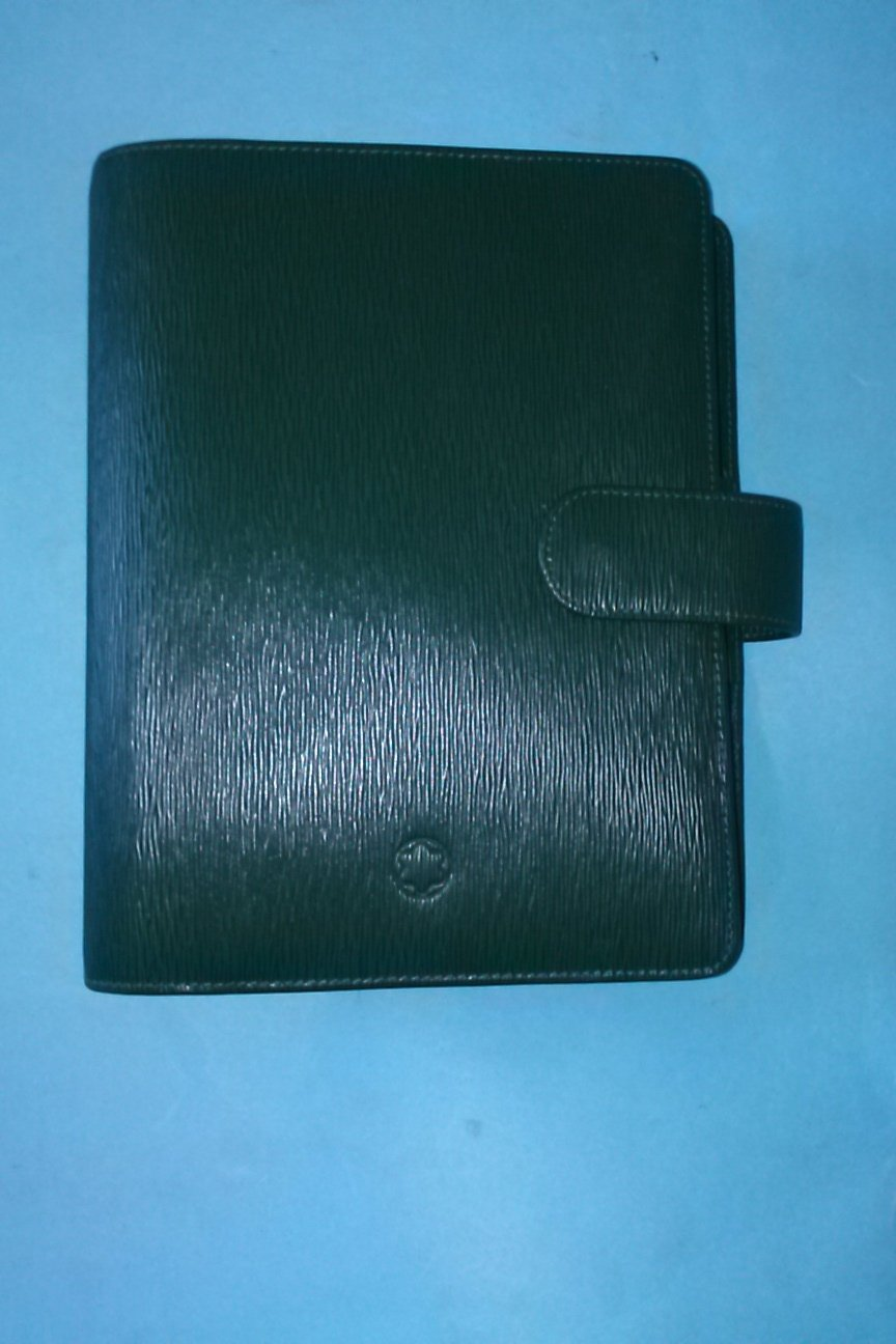 Mont Blanc 48002 Generation Leather Collection Genuine Leather Organizer with Pen Holder A6 Green Inside Pockets Dividers For Notes Calendar Today