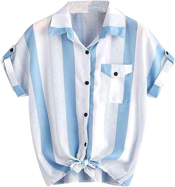 Blusas para Mujer Verano Camisa de Manga Corta con Rayas Sueltas Tops Casual Blusas y Blusas para Mujer: Amazon.es: Ropa y accesorios