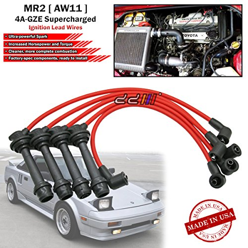 SUSTEC 8mm Spark Plug Cable Ignition Wire Set For Toyota MR2 AW11 1986-89 4A-GZE Supercharged ()