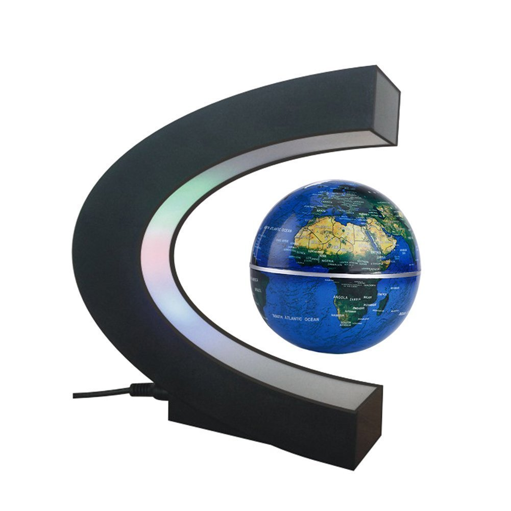 Globo Galleggiante, SUAVER C levitazione magnetica a forma di sfera galleggiante Globe Mappa del Mondo, LED Globo Mappa Globe World Map regalo con Luci LED, Regali Compleanno per Casa Ufficio Decorazione (Argento Nero)