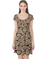 CowCow Womens Brown Glasses Pattern Retro Sunglasses Cap Sleeve Dress