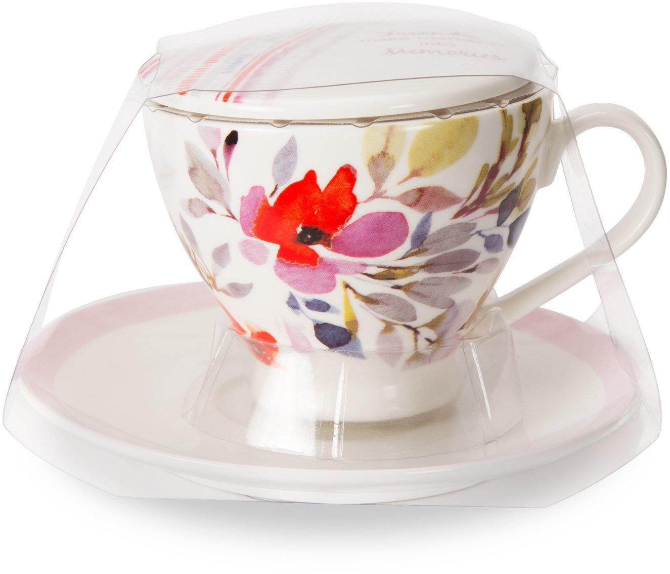 Flora by Stephanie Ryan 87223 Friends Make Moments into Memories Three Piece Saucer Lid and Tea Cup Set with Light Pink Floral Design Pink