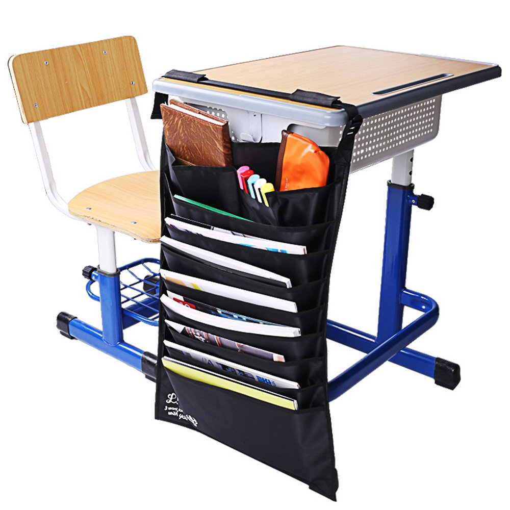 Deli Multifunctional Adjustable Desk-Side Hanging Wall Files Bag,10 Pocket Slots, Durable Waterproof Oxford Fabric Files Books Paper Organizer,Sorting Bag
