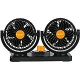 feiledi Trade Ventilateur De Voiture 12V 24V Camion Universel Double T/ête Puissant Ventilateur /Électrique De Refroidissement Ventilateur Puissant Vent 360 Degr/és Rotatif