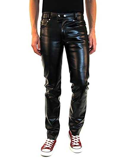 Jeans Trouser Lederhose Men Faux York Fit New Bockle Leather Pants Slim SqpGUzMV