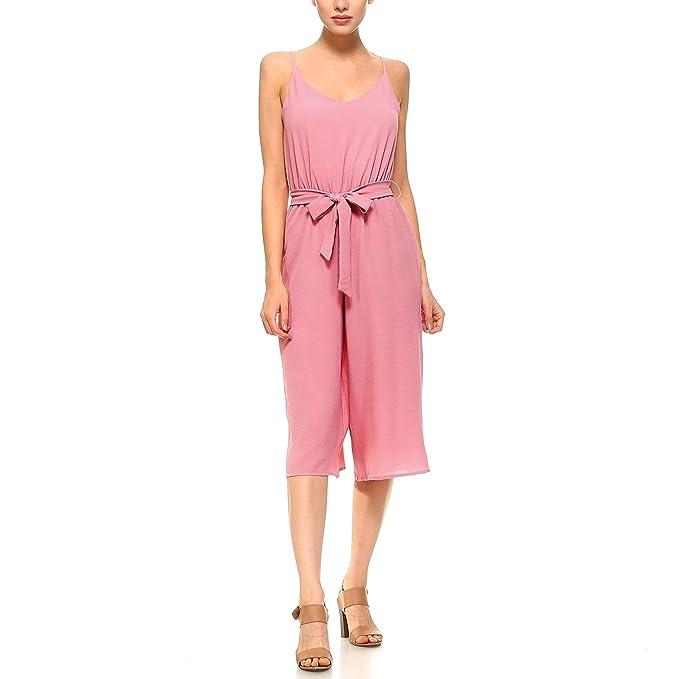0038c9f338d Fashionazzle Women s V-Neck Spaghetti Strap Solid Casual Jumpsuit (Small