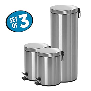 Round Step Trash Can With Lid, Fingerprints Proof For Kitchen,Stainless  Steel,1.3