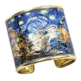 FLORIANA Women's Art Gold-Flecked Cuff Bracelet - Gustav Klimt/Vincent Van Gogh - Starry Night