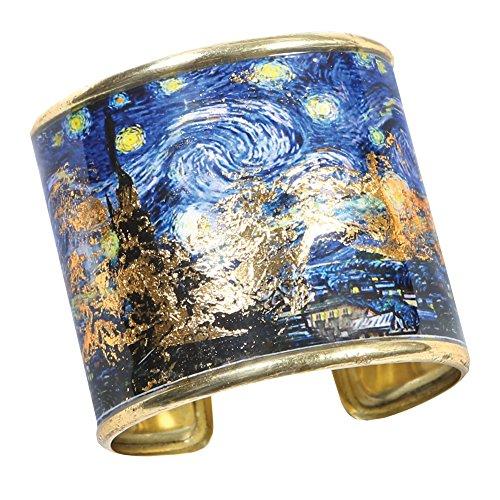 FLORIANA Women's Art Gold-Flecked Cuff Bracelet - Gustav Klimt/Vincent Van Gogh - Starry Night