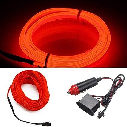 394inch//1000cm, red HomDSim 118inch 300cm Auto Car Interior Decor LED Neon Light Lamp Glow EL Wire String Strip 12V