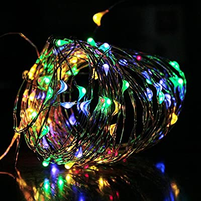 Solar String Lights Outdoor, AYY 4 Colors Starry Lights 100 LED 33ft Waterproof Copper Wire Fairy Ambiance Lighting with 2 Modes for Garden, Patio, Wedding, Christmas Party and Holiday Decoration